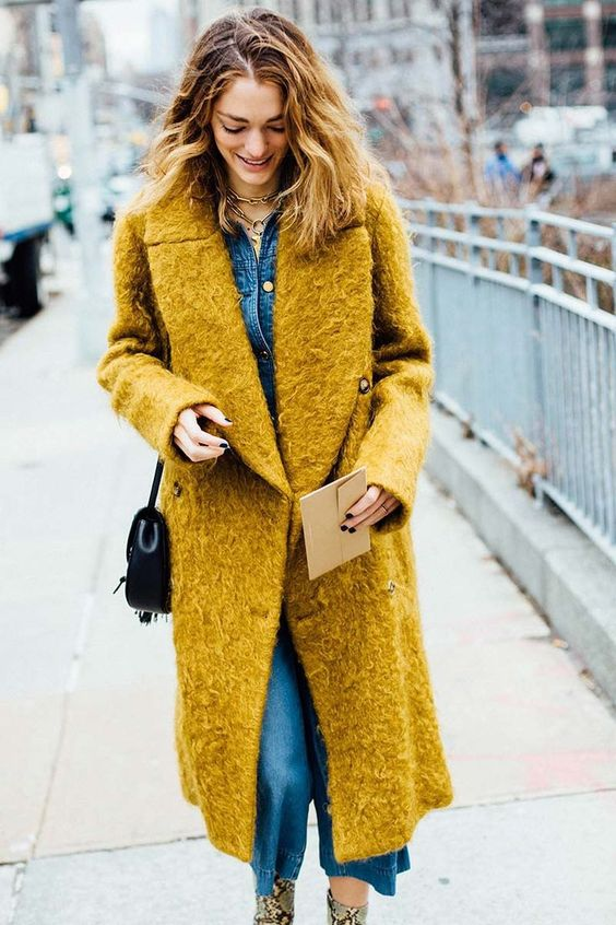 boucle coat mustard jeans