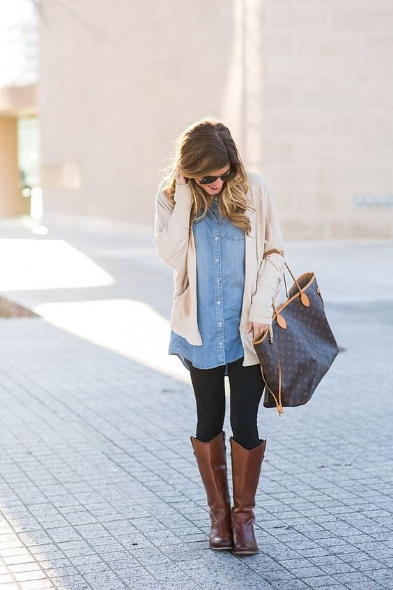 brown riding boots denim shirt