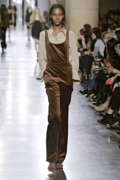 brown velvet overalls pale pink shirt