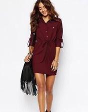 burgundy belted shirt dress black ankle boots