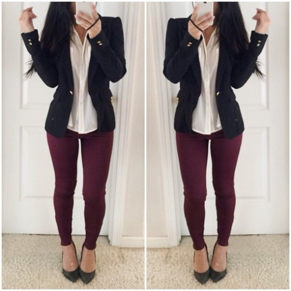 burgundy jeans pale yellow shirt black blazer