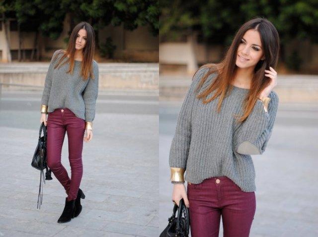 burgundy skinny jeans grey boat neck knit sweater