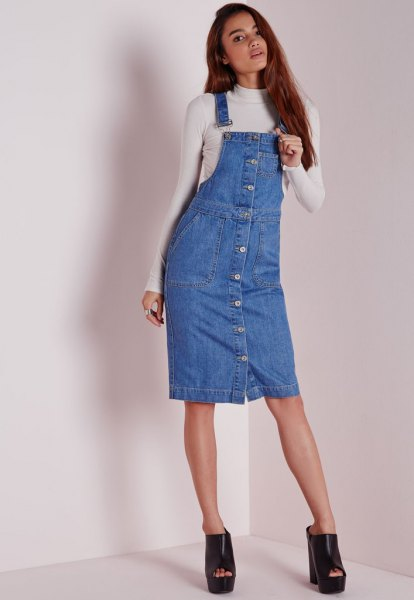 button front denim overall dress white form fitting sweater