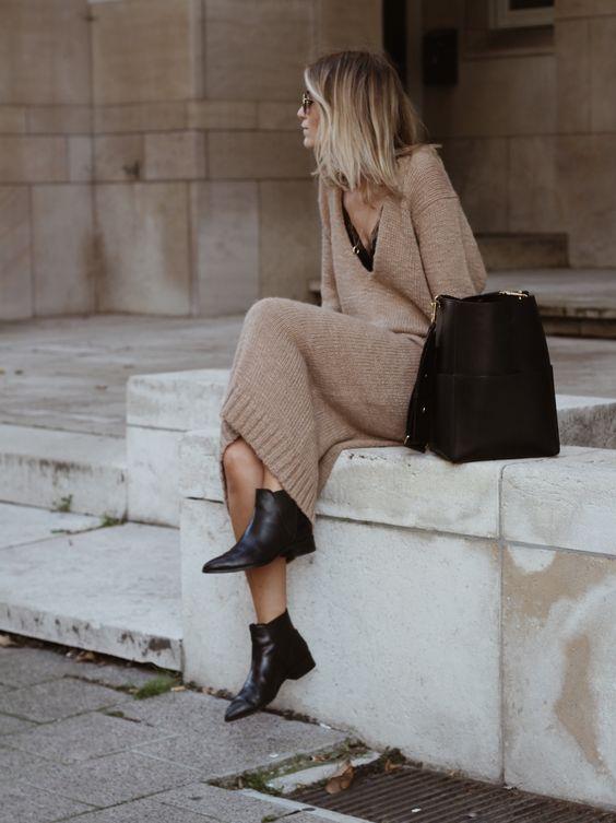 jumper dress camel black