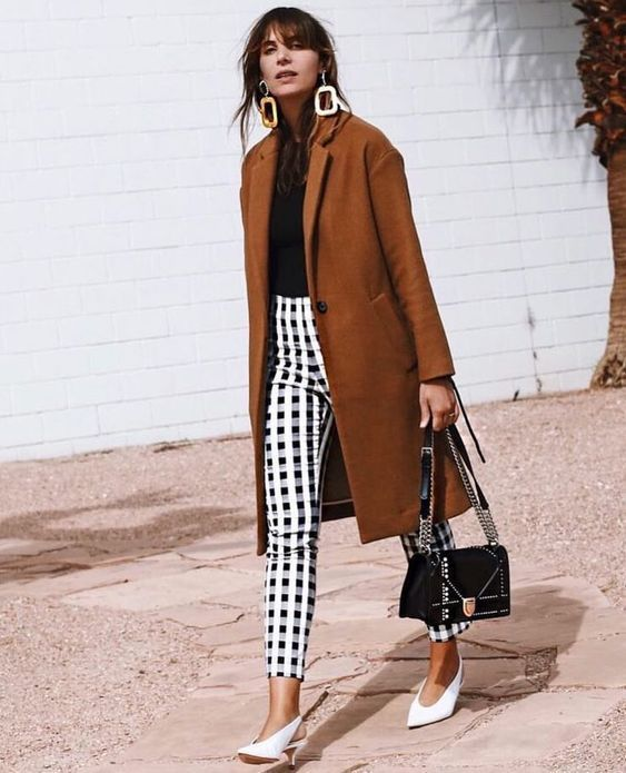 cashmere coat checked pants