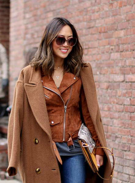 camel long coat brown suede jacket