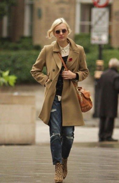 camel wool coat boyfriend jeans