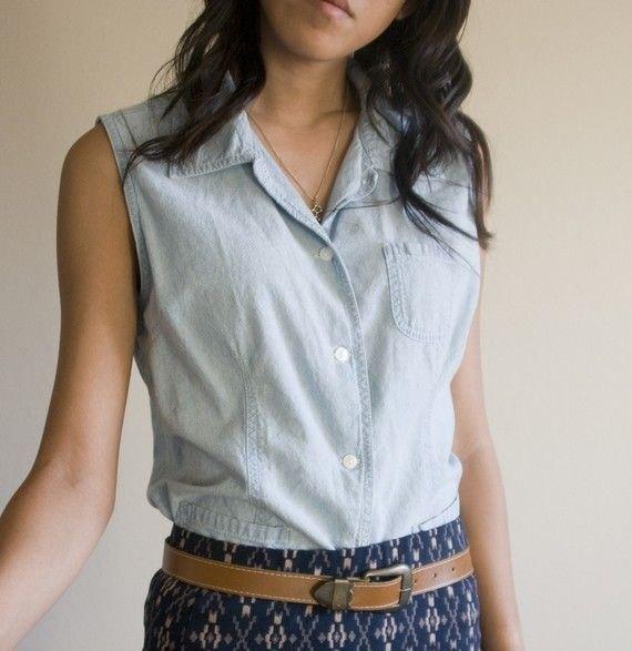 chambray front pocket sleeveless shirt tribal printed mini skirt