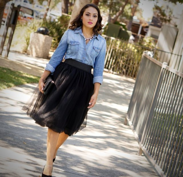 chambray shirt black heels