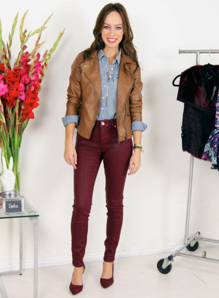 chambray shirt brown leather jacket