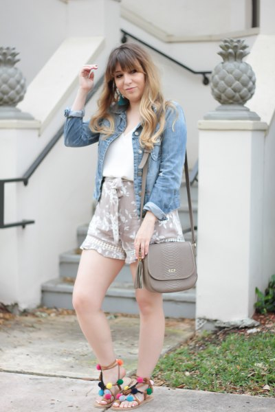 chambray shirt pink printed flowy cute shorts