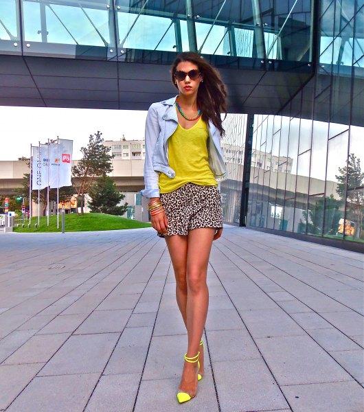 chambray shirt yellow vest top