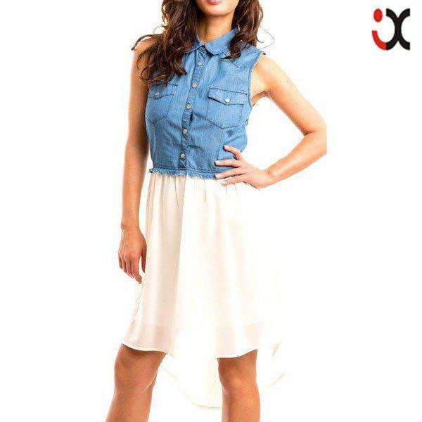 chambray sleeveless shirt white chiffon high low flared mini skirt