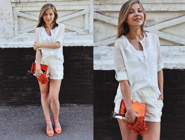 chiffon shirt white mini shorts