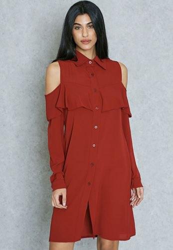 cold shoulder burgundy shirt dress