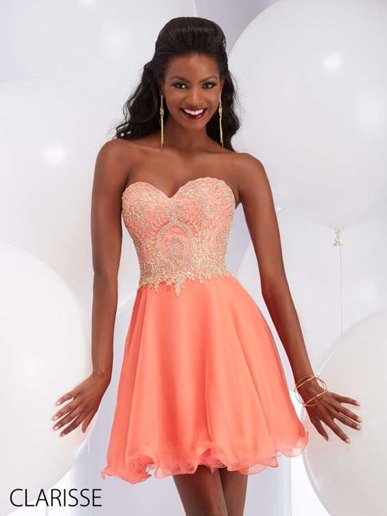 coral prom dress embroidered