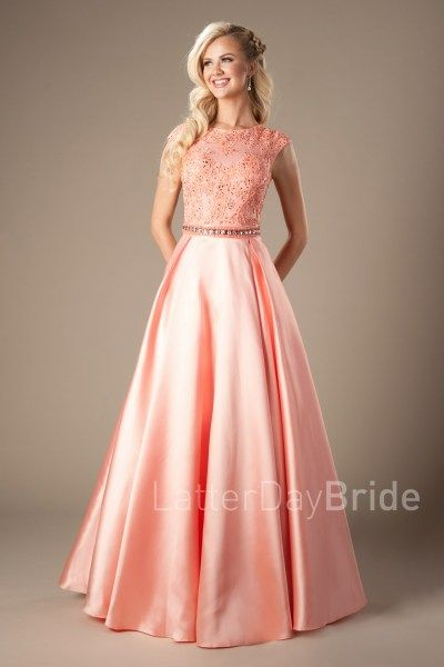 coral prom dress lace bodice