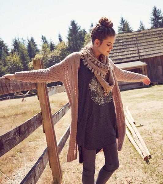 crepe cable knit cardigan long grey t shirt