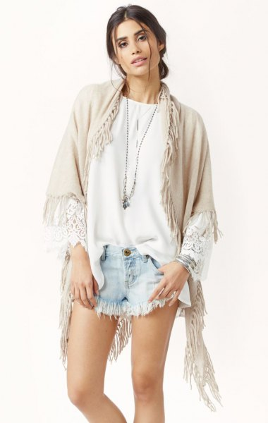 crepe cashmere fringe wrap white blouse denim shorts