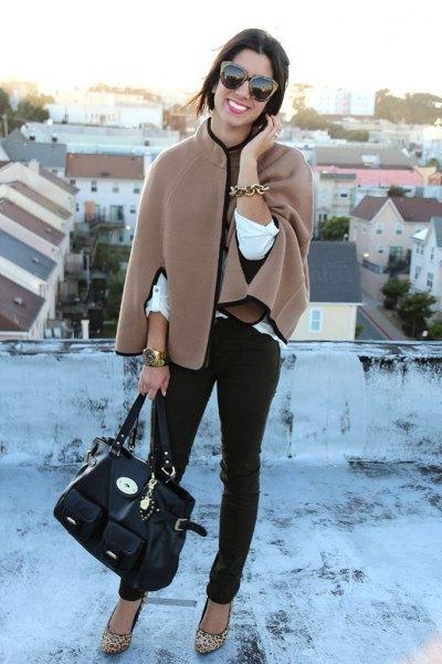 crepe coat black skinny jeans leopard print heels