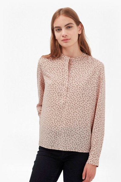 crepe shirt with subtle floral pattern