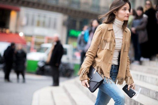 crepe suede fringe jacket white turtleneck sweater