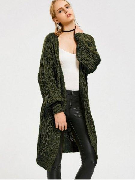 dark green midi length cable knit cardigan