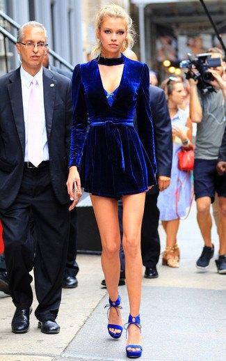 deep blue velvet belted mini dress