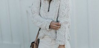 fleece pullover all white