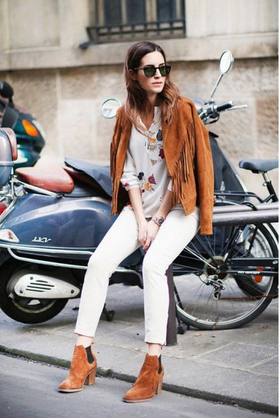 embroidered white shirt brown suede ankle boots