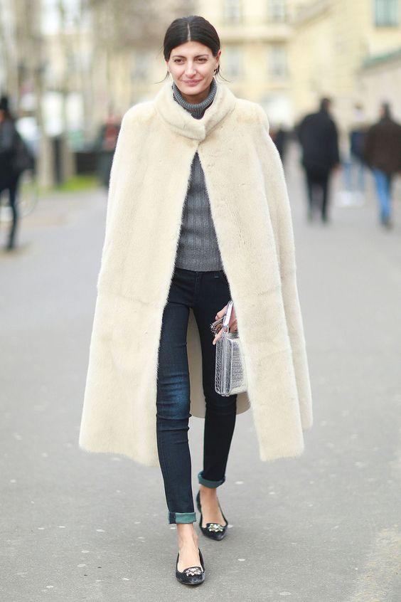 faux fur cape long beige