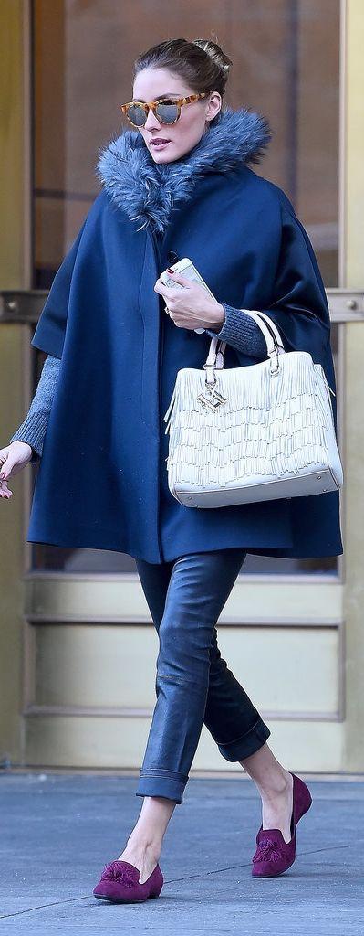 faux fur cape navy blue