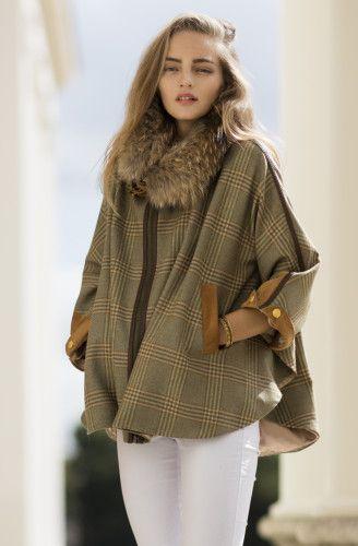 faux fur cape plaid brown