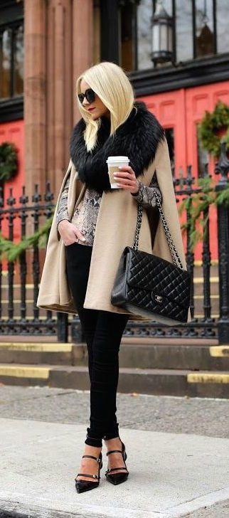 faux fur cape snakeskin blouse