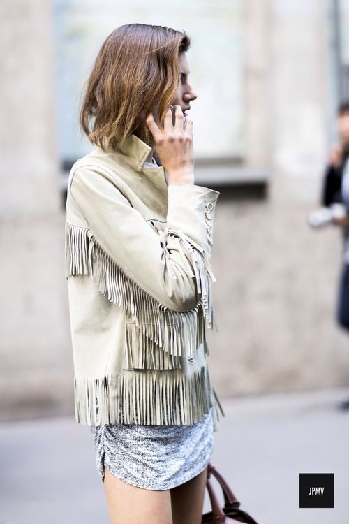fringe lether jacket beige