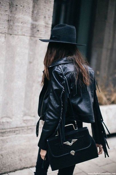 fringe leather jacket boho