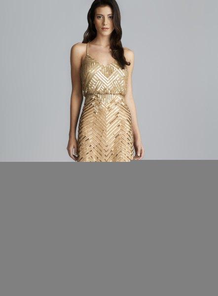 gold sequin deep v neck blouson maxi dress