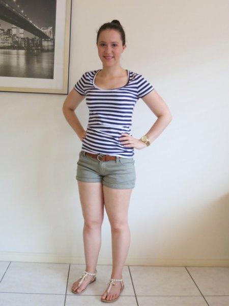 green khaki shorts black and white striped tee