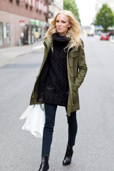 green parka jacket all black outfit