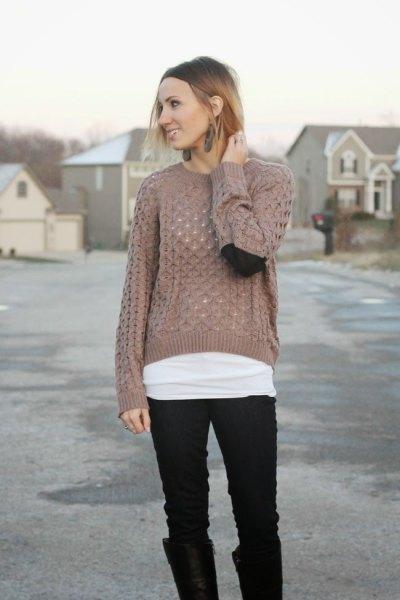 green semi sheer knit sweater black jeans