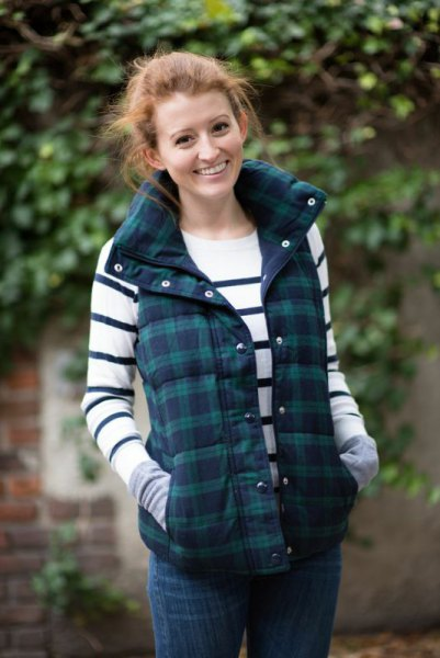 grey and navy plaid vest white and navy striped sweater
