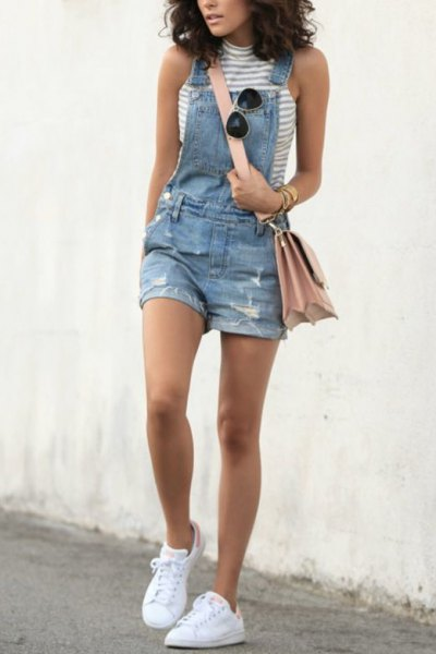 grey and white mock neck sleeveless top denim overall shorts