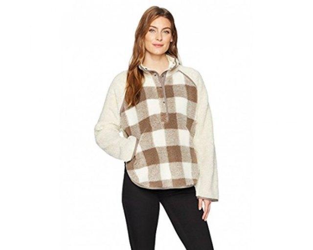 grey and white plaid fleece poncho black skinny jeans