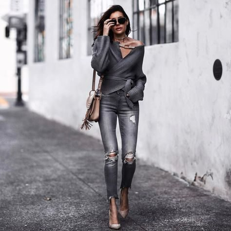 grey belted wrap cardigan ripped jeans