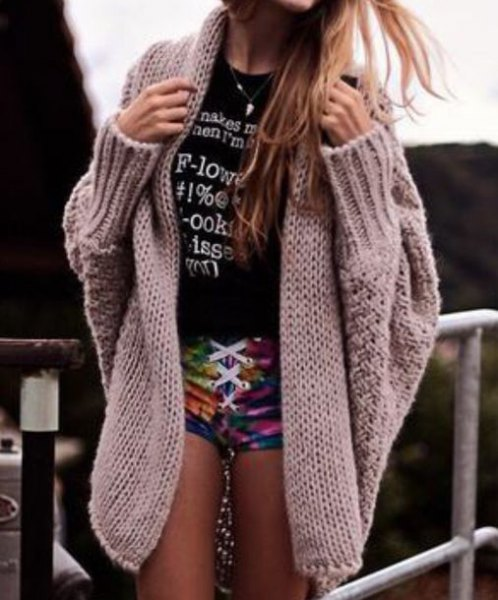 grey cable knit chunky cardigan over tee mini shorts