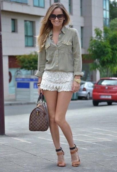 grey denim shirt white lace shorts