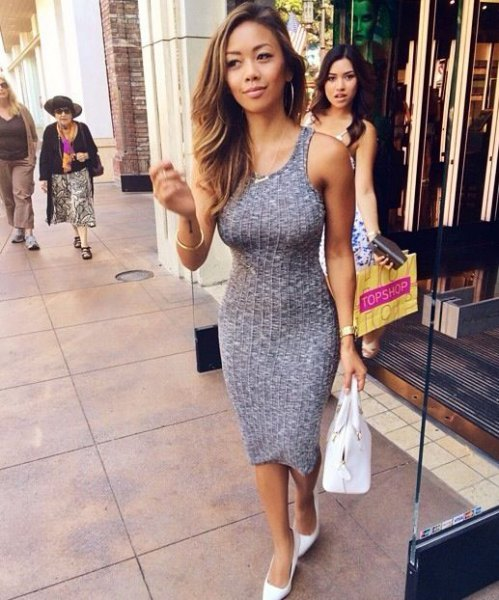 grey form fitting midi tank ribbed dress