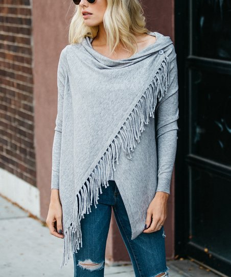 grey fringe wrap ripped blue jeans