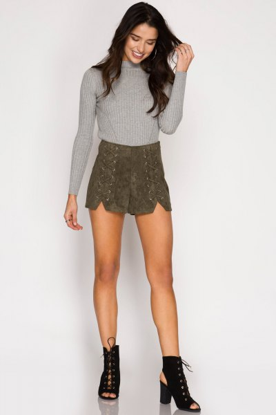 grey knit sweater with suede lace up shorts