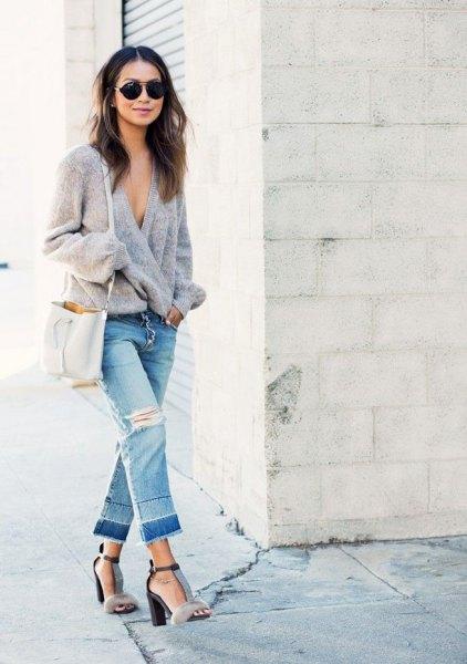 grey knit wrap cardigan cropped boyfriend jeans